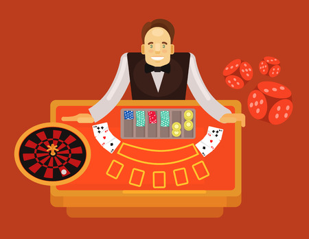 gimmick: Croupier vector flat illustration