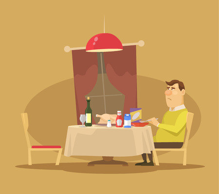 lonely: Single man. Vector flat illustration