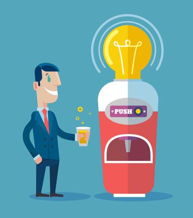 automaton: Machine with ideas. Vector flat illustration Illustration