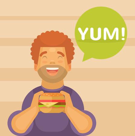 big break: Happy boy eating a big hamburger. Vector flat illustration Illustration