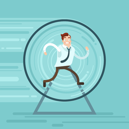 runs: Businessman runs. Vector flat illustration Illustration