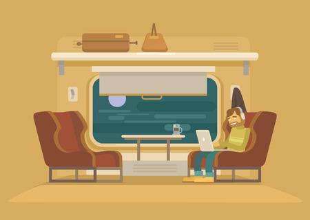 estacion de tren: Tren de pasajeros. Vector ilustración plana