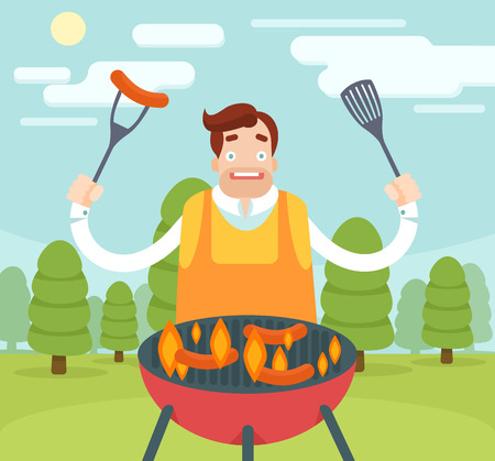 smile happy: Barbecuing guy. Vector flat illustration