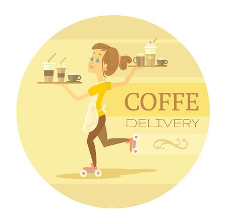 hot rollers: Morning coffee. Vector flat illustration Illustration