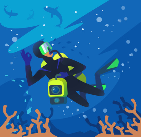 freediver: Diver underwater. Vector flat illustration