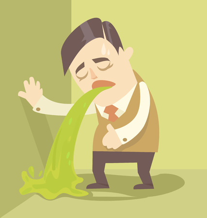 throw up: Sick businessman. Vector flat illustration