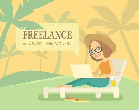woman laptop: Freelance beach remote working place. Freelance girl on beach. Vector flat illustration Illustration