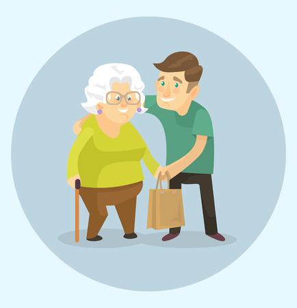 Volunteer is helping to grandmother. Vector flat illustration