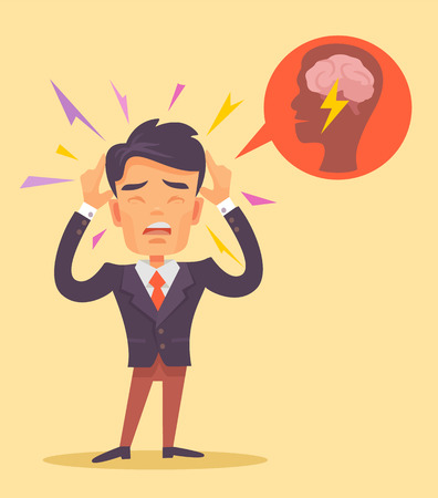 businessman thinking: Man get headache. Vector flat illustration