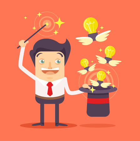 magic hat: Businessman with magic hat full of ideas. Vector flat illustration