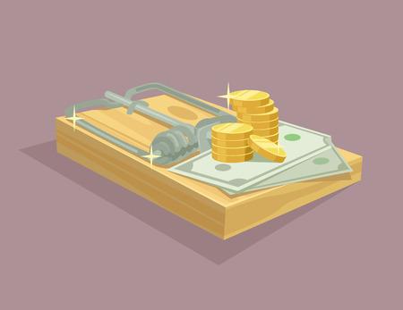 mouse trap: Money trap flat illustration Illustration