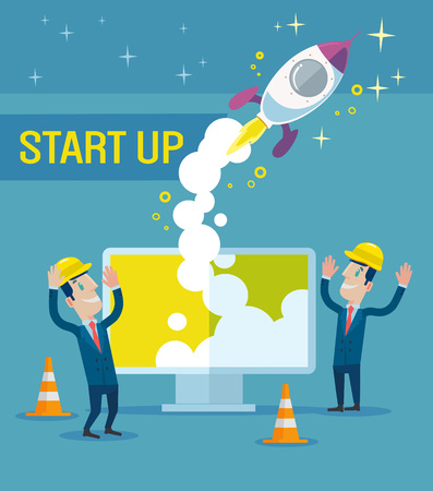 Business start up idea flat illustration Illustration