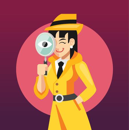 vrouw detective flat illustratie