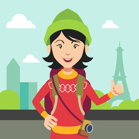 hitchhiking: Hitchhiking tourism concept flat illustration