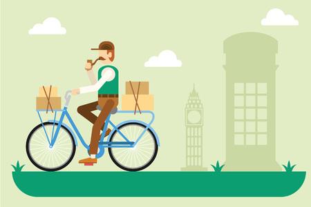 retro illustration: Retro London postman on a bicycle flat illustration Illustration