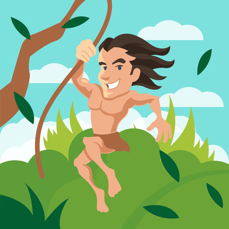muscle man: Tarzan swinging on a cartoon illustration