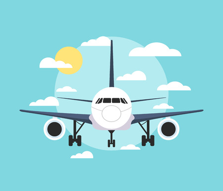 front view: Banner with an airplane flat illustration
