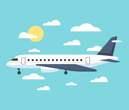 private airplane: Banner with an airplane flat illustration