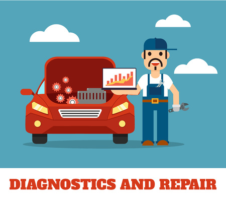 icono computadora: Auto mechanic service flat illustration Vectores