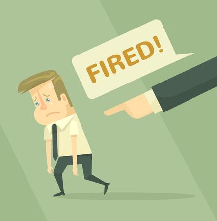 firing: Fired office worker employee firing concept flat illustration