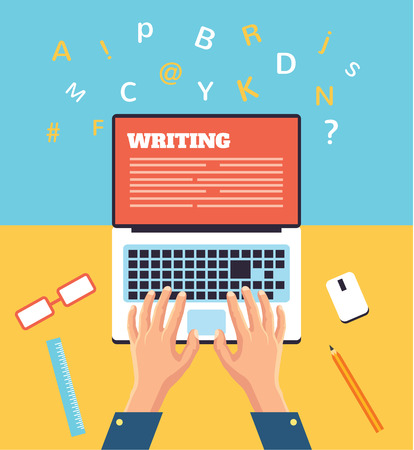 Hand typing on laptop flat illustration Vectores