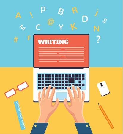 Typage des mains sur un ordinateur portable illustration plat Banque d'images - 48364063