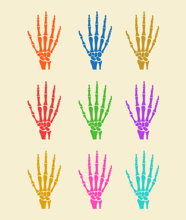icon red: Hand bones flat icon illustration colorful set