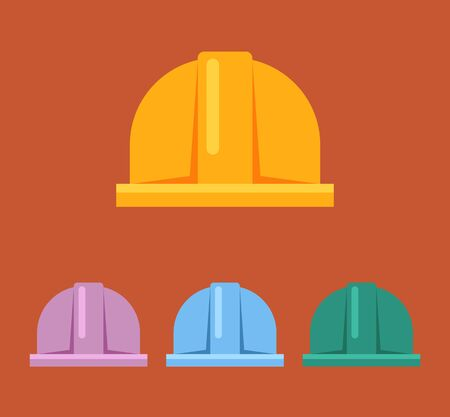 hard: Hard hat flat sign icon set