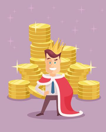 riches: Wealthy businessman king flat illustration Illustration