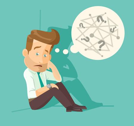 homme triste: Confus employé illustration plat