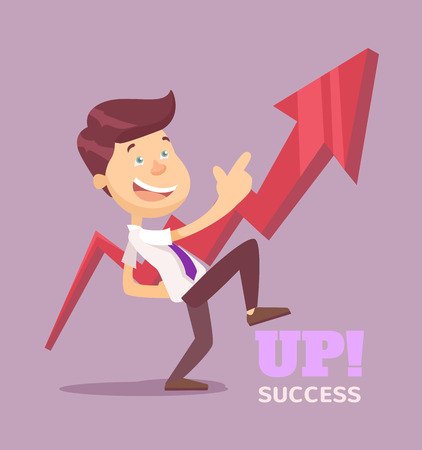 arrow up: Businessman pointing up arrow flat illustration