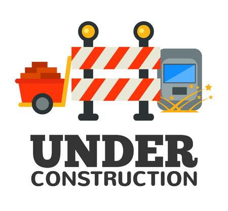 recondition: Under construction flat illustration