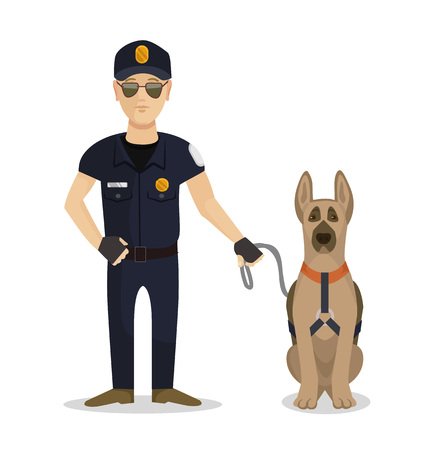 criminal activity: Policeman with dog. Vector flat illustration