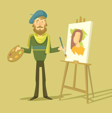unrecognizable person: Vector cartoon flat artist. Vector illustration Illustration