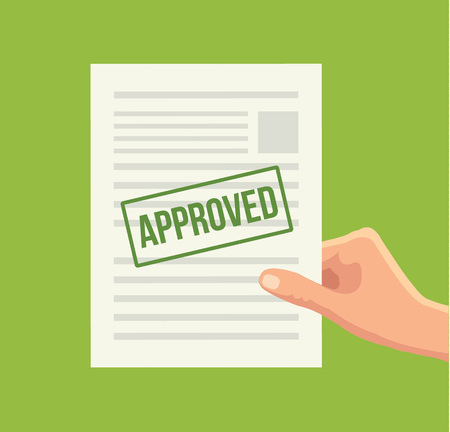 allowance: Approved paper document. Vector flat illustration Illustration