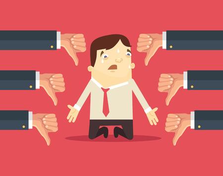 hombres ejecutivos: Hombre de negocios triste y muchas manos con los pulgares hacia abajo. Vector ilustración plana Vectores