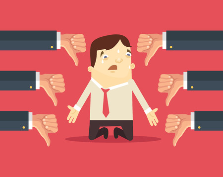 Sad businessman and many hands with thumbs down. Vector flat illustration Vectores