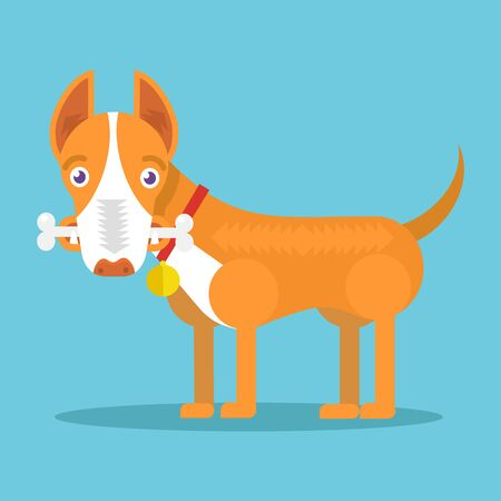 bite: Happy dog with big white bone. Vector flat illustration Illustration