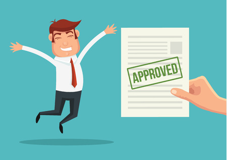 Approved application and happy man. Vector flat illustration Banco de Imagens - 48675267