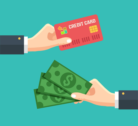 Hand with credit card and hand with cash. Vector flat illustration