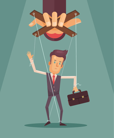 controlled: Worker marionette on ropes controlled boss hand. Vector flat illustration