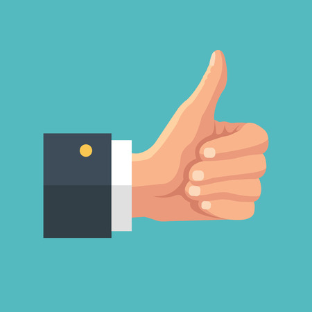 Big thumb up. Social network likes, approval, feedback concept Illustration