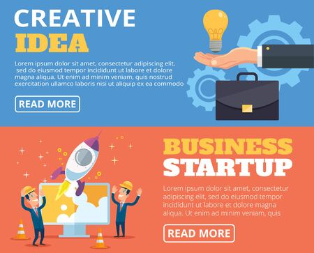 business phone: Business startup. Creative idea. Vector banners flat illustration set Illustration