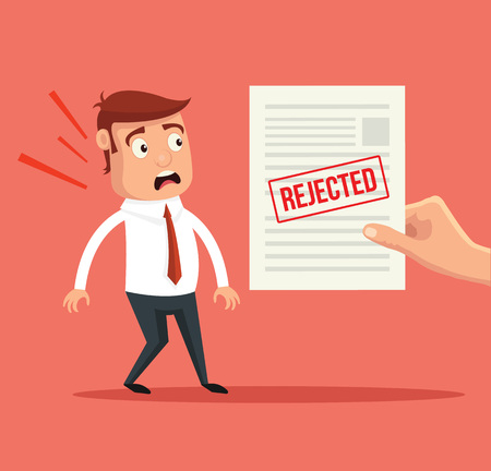 rejected: Rejected paper document. Vector flat illustration Illustration