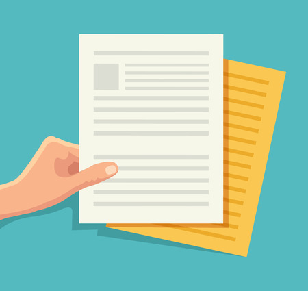 Hand holding the document. Vector flat illustration