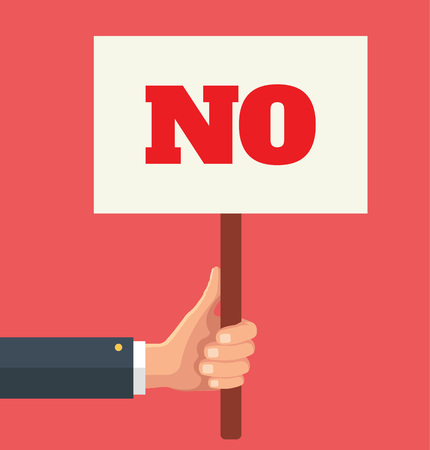 Hands holds sign with NO word. Social protest. Vector flat illustration Illustration