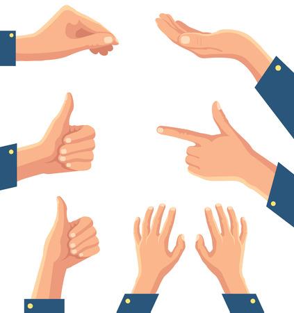 Set of human pointing hands. Vector cartoon illustration