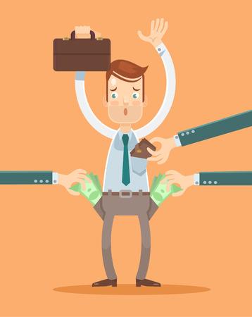 Office worker get robbery. Vector flat illustration