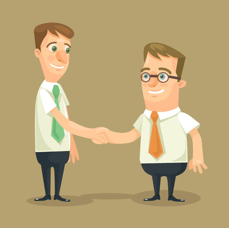 two people meeting: Businessman shaking hands. Vector flat illustration