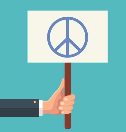 symbol sign: Hands holds sign with Peace sign. Vector flat illustration Illustration
